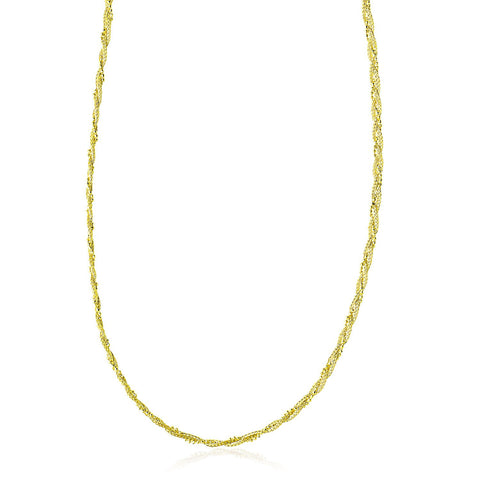 14K Yellow Gold Wheat and Bead Chain Braided Necklace