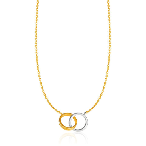14K Gold 17 inch Two-Toned Yellow and White Gold Interlocking Rings Necklace