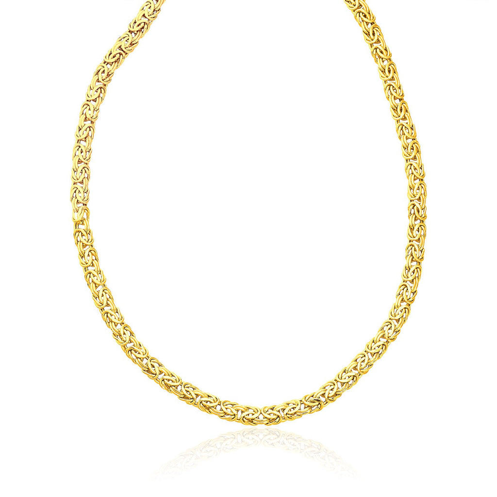 14K Yellow Gold Byzantine Motif Chain Necklace