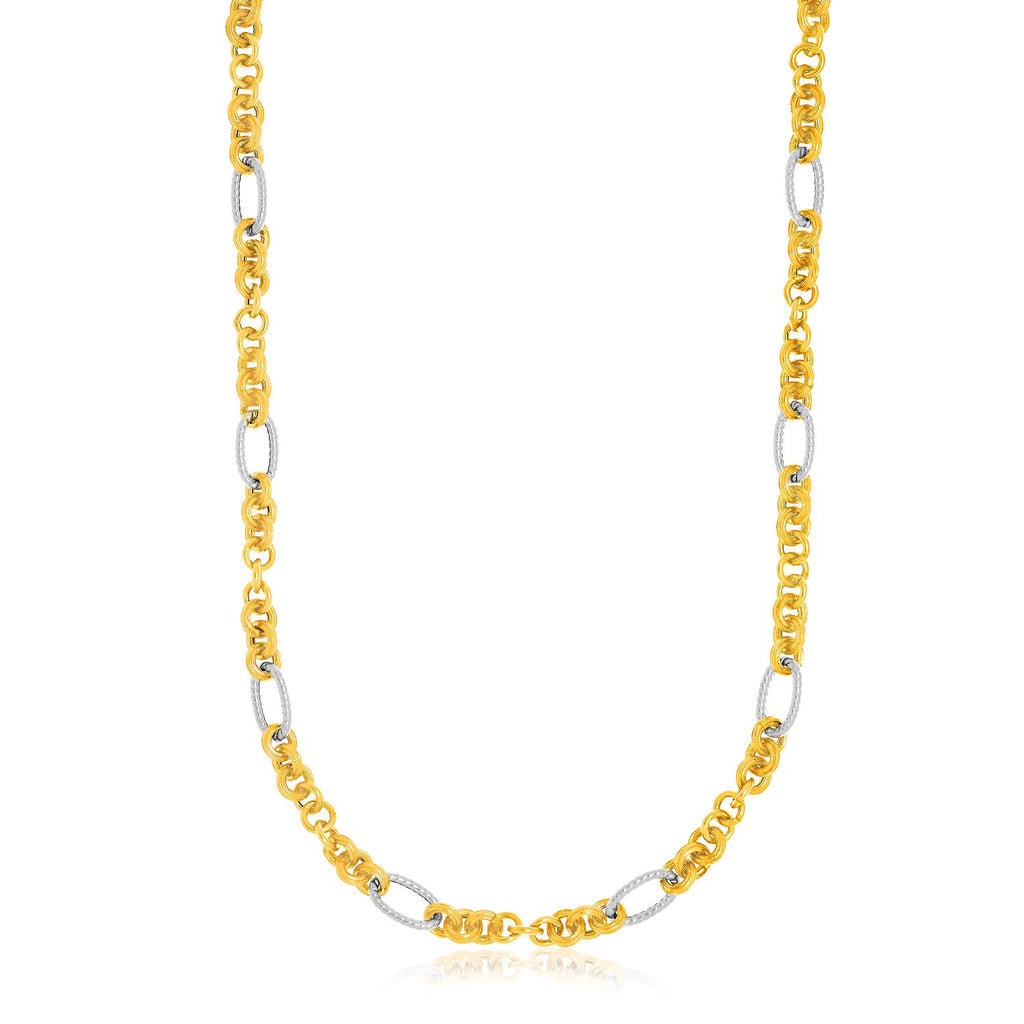 14K Two-Tone Gold Round and Textured Oval Station Necklace