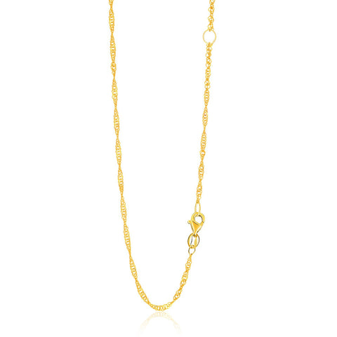 1.7mm 14K Yellow Gold Adjustable Singapore Chain