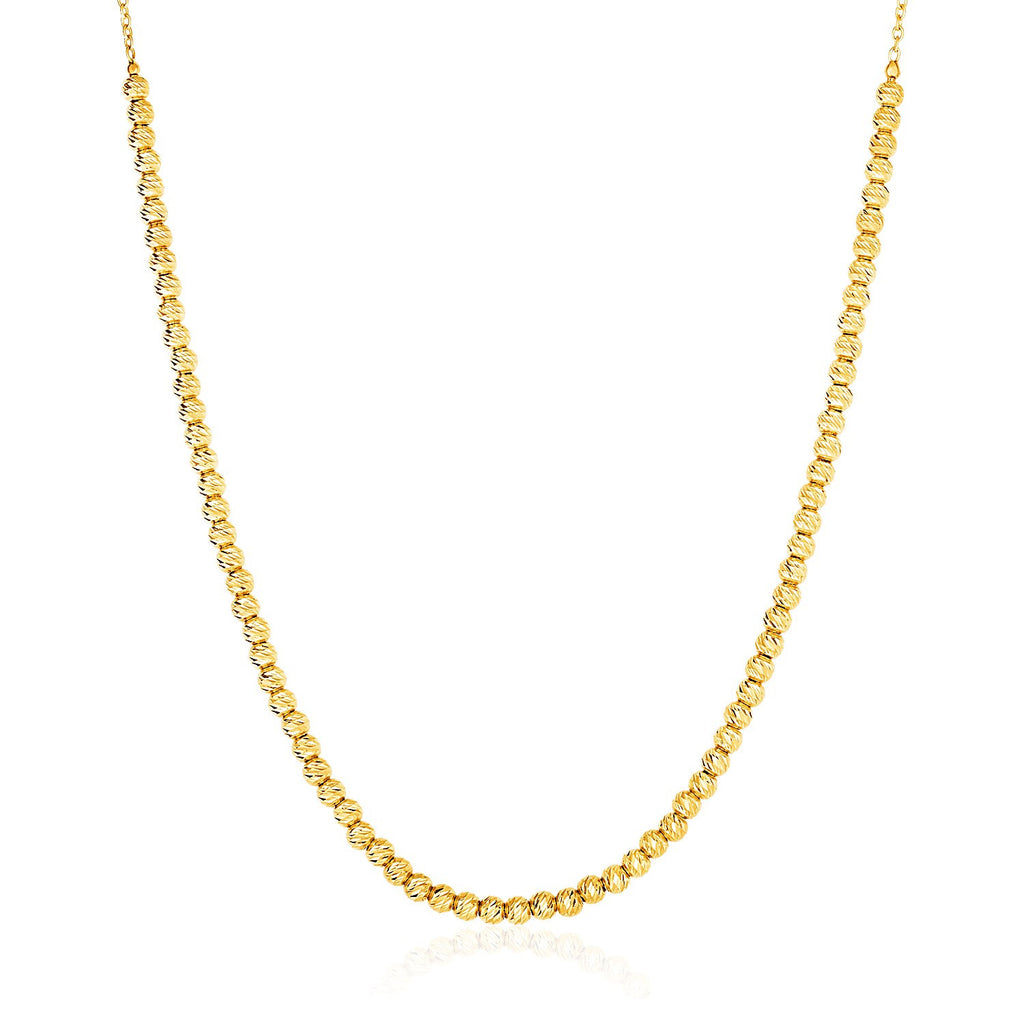 14K Gold 17 inches Textured Bead and Chain Necklace