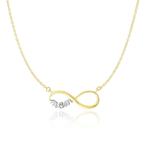 14K Two-Tone Gold Infinity MOM Motif Chain Necklace