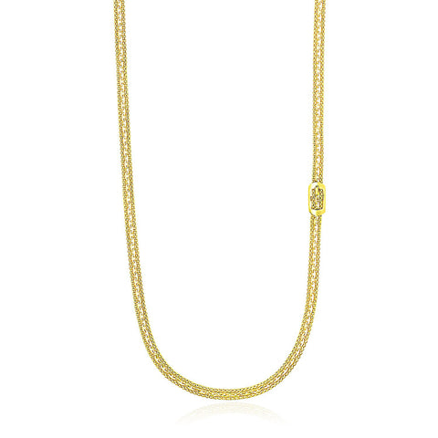 14K Yellow Gold Buckle Design Station Popcorn Chain Necklace