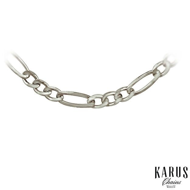 Solid Figaro Chain 3.0mm 14K White Gold