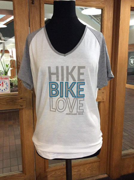 Hike, Bike, LoveV-Neck Raglan Tee