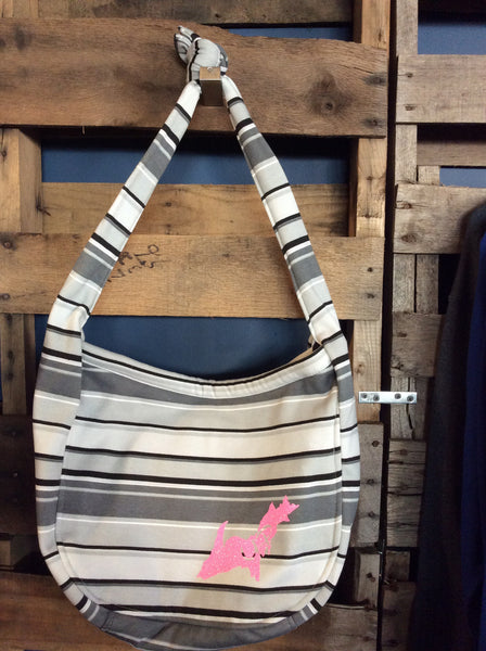 UP Striped Slouch Shoulder bag