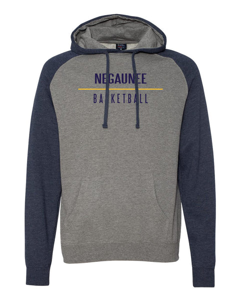 Negaunee Basketball Raglan Hooded Sweatshirt