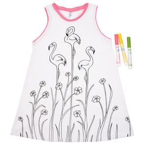 Robe à colorier extensible Jardin de Flamants