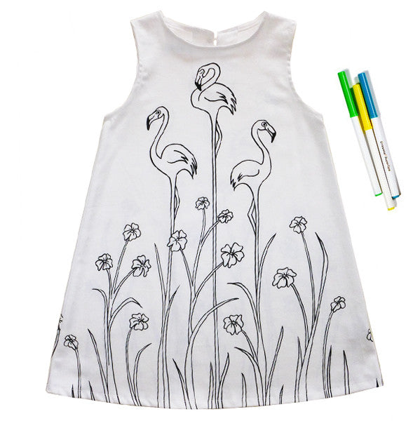 Robe à colorier JARDIN DE FLAMANTS