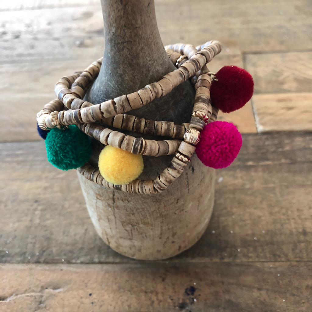 Pom Pom and Shell Wrap Bracelet