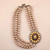 Southwest Statement Necklace ~ Oatmeal and Apricot