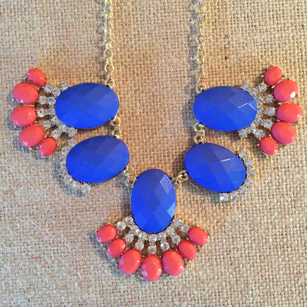Rani Necklace and Earrings ~ Royal Blue, Coral and Gold