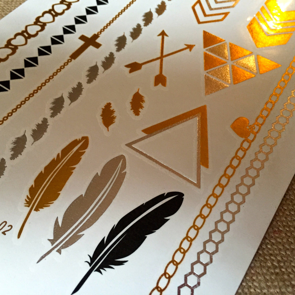 Metallic Temporary Tattoos ~ Black, Silver and Gold