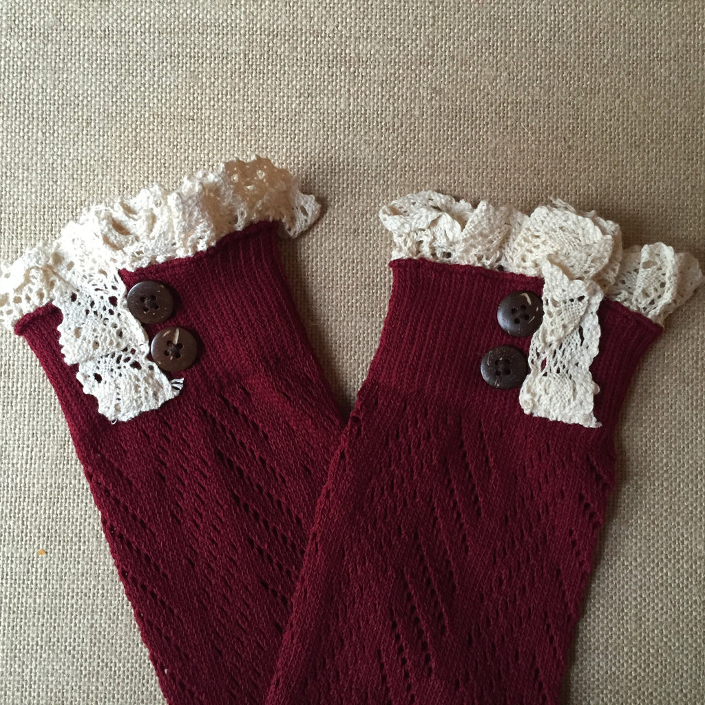Knit and Crochet Boot Cuff ~ Burgundy