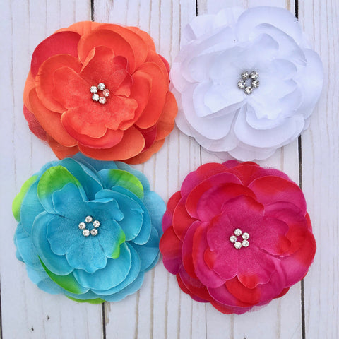 3 Rhinestone Silk Flowers - hair bows clip headband boutonniere pin