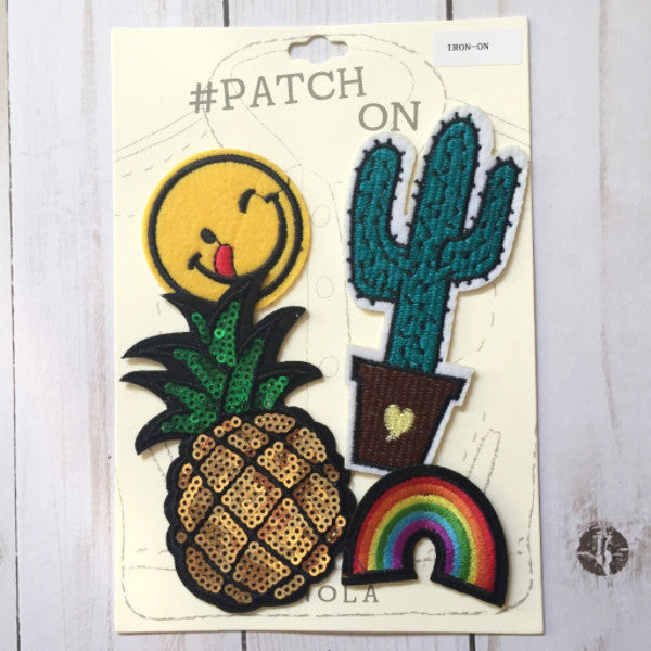 Iron-On Patches :: Emoji, Cactus, Pineapple, Rainbow
