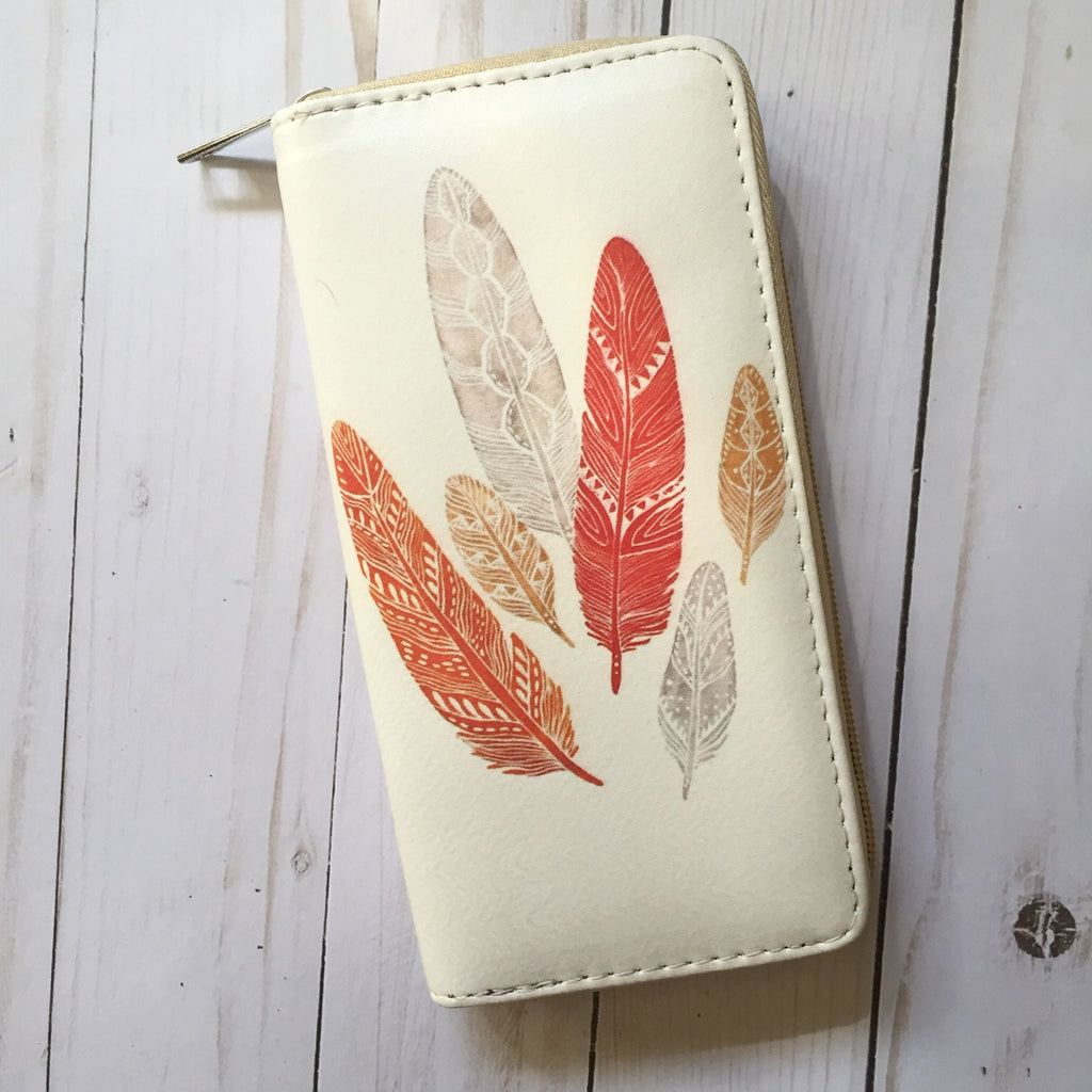 Feather wallet coral lvory illustration