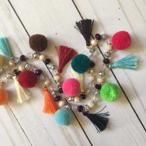 PomPom, Tassel and Crystal Necklace :: Multi-color and Extra Long