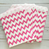 Hot Pink Chevron Paper Treat and Favor Bags - Food Grade