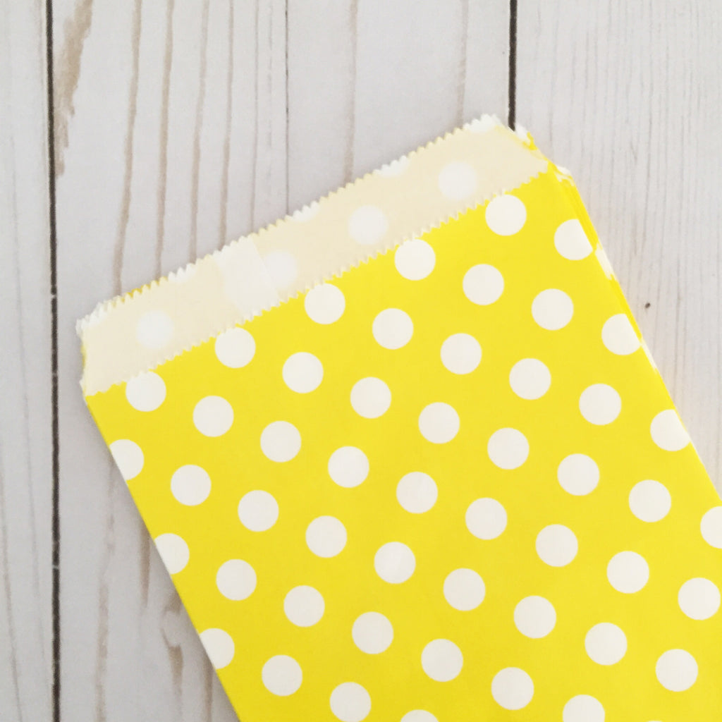 Yellow polka dot Paper Food Favor Treat bags party