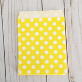 Yellow Polka Dot Paper Treat and Favor Bags - Food Grade