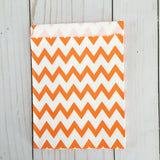 Orange Chevron Paper Treat and Favor Bags - Food Grade