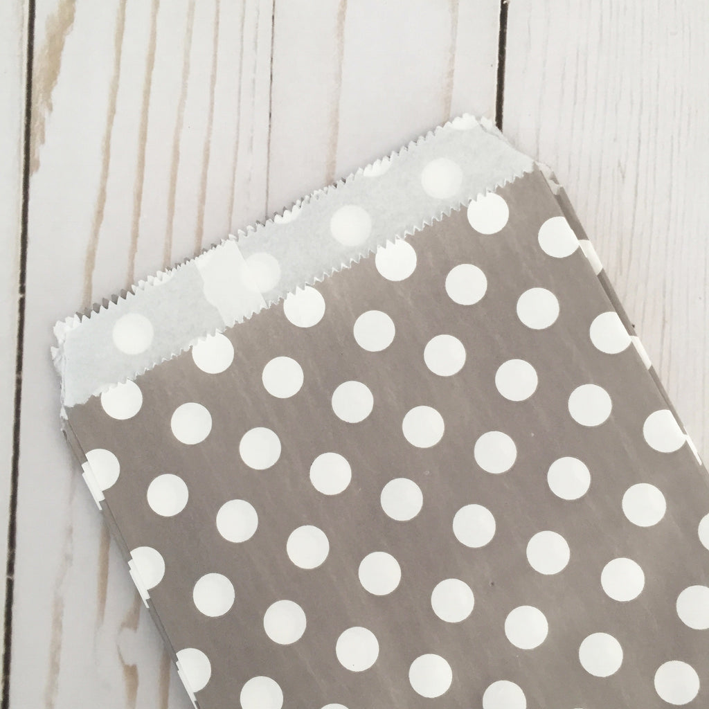 gray polka dot Paper Food Favor Treat bags party