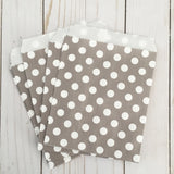 Gray Polka Dot Paper Treat and Favor Bags - Food Grade