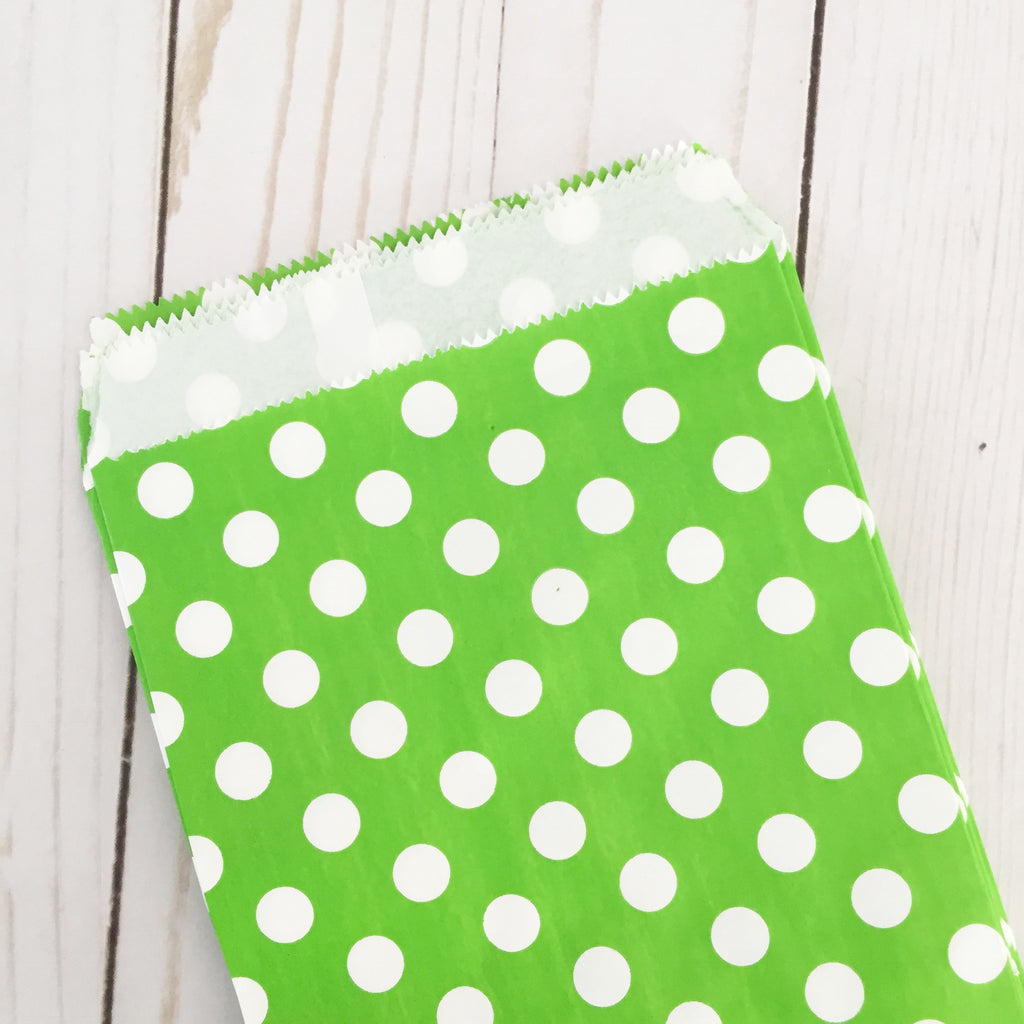 Green polka dot Paper Food Favor Treat bags party