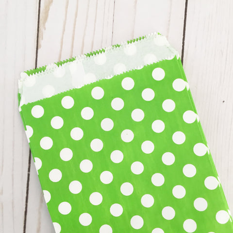 Green Polka Dot Paper Treat and Favor Bags - Food Grade