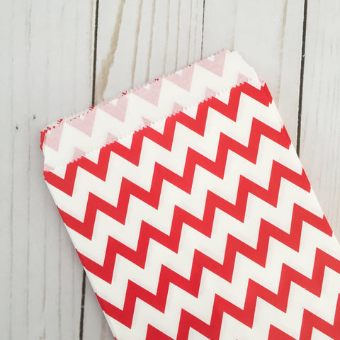 Red Chevron Paper Treat and Favor Bags - Food Grade