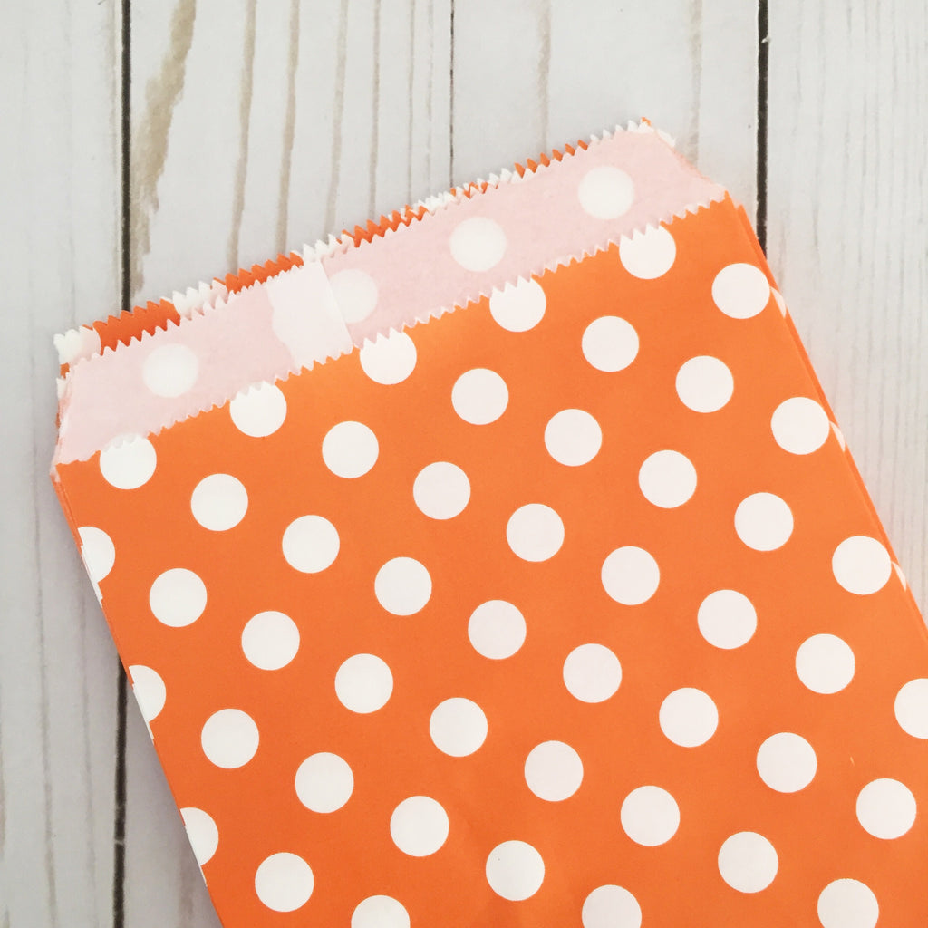 Orange polka dot Paper Food Favor Treat bags party