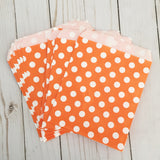 Orange Polka Dot Paper Treat and Favor Bags - Food Grade