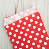 Red polka dot Paper Food Favor Treat bags party