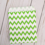 Green Chevron Paper Treat and Favor Bags - Food Grade