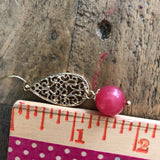 Pink and Gold Bubble Gum Drop Earrings