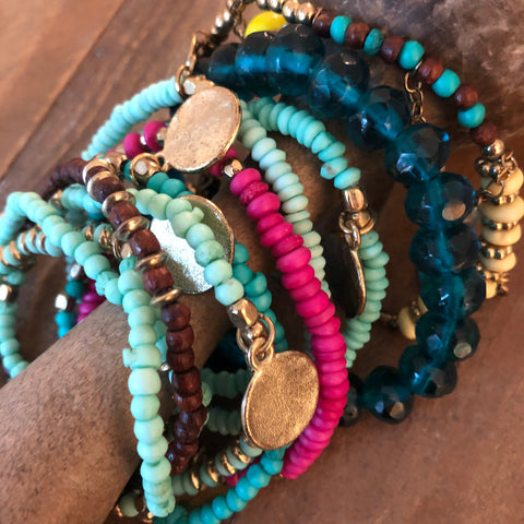 Turquoise and Pink Beaded Stackable Bracelets Set of 10
