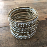 White and Gold Stacking Bangle Bracelets - Set of 22
