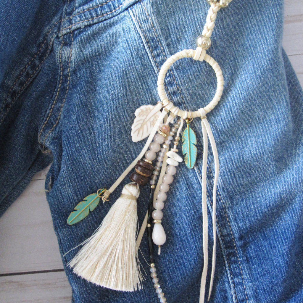 Ivory Tassel and Feather Necklace - Extra long