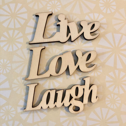 Live Love Laugh Wood Typography Word Cutouts Embellishments