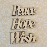 Peach wish hope wood letters for crafts and diy