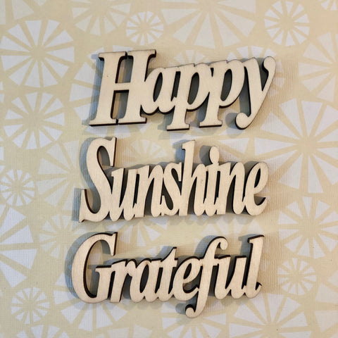 Happy Grateful Sunshine Wood Typography Word Cutouts Embellishments