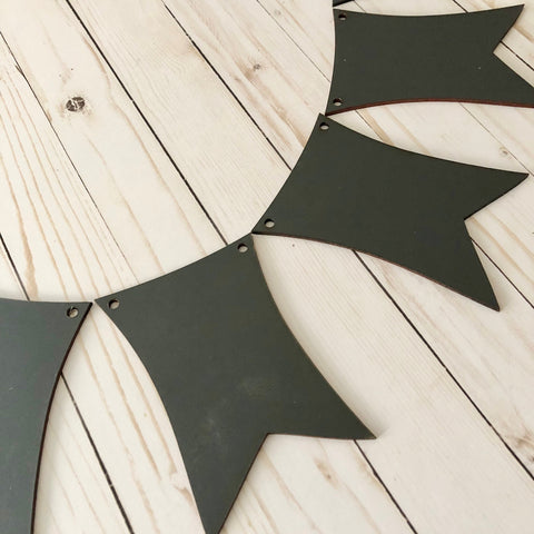 Chalkboard Wood Pennant Banner Kit Photo Prop Decorations 6 Pieces