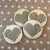 Heart Stitchable Wood Pendants ~ 4 pieces circle Cross Stitch Needlepoint