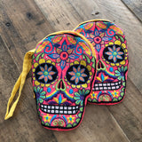 PINK Skull Dia de los Muertos Embroidered Coin Purse Day of the Dead