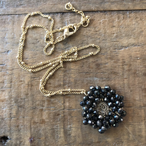 Black Crystal Beaded Cluster Pendant Necklace