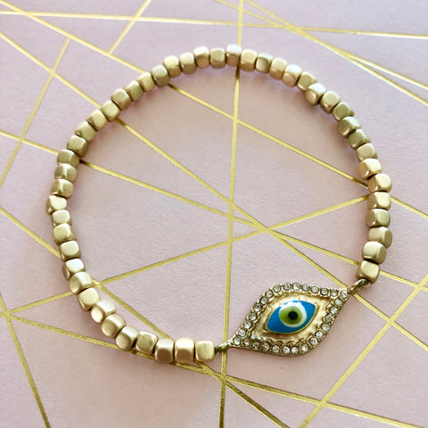 Evil Eye Stackable Bracelet Gold Stretch