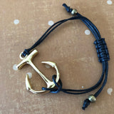 Black Anchor Slider Hemp Charm Bracelet Macrame