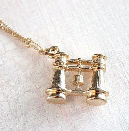 Binocular Charm Necklace ~ Gold
